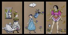 Slide 16, a selection of fabulous paper dolls by Nancy Gene Armstrong, working with stamps from the Timekeeper's Garden by Character Constructions.
