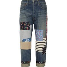 Junya Watanabe Patchwork cropped boyfriend jeans (11.425 UYU) ❤ liked on Polyvore featuring jeans, pants, bottoms, trousers, dark denim, faded blue jeans, patched boyfriend jeans, petite jeans, petite boyfriend jeans and boyfriend crop jeans