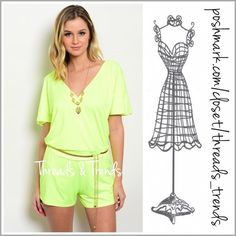 """Neon Deep V Romper neon romper featuring a deep V bodice with a hidden snap closure. Tee bar detail with gold hardware on back as well as a one size fits all gold metal adjustable belt included. Perfect for all  summer fun events or for wear as a cover up.                                                    Small  Bust 36"""" Waist 30"""" Hips 38"""" Rise 9.5"""".                                                       length 31"""" Medium Bust 40"""" Waist 32"""" Hips 40"""" length 31"""" Large  Bust 42"""" Waist 34"""" Hips…"""