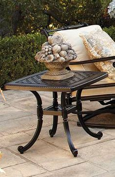 Our Carlisle Onyx Cast-top Side Table's impeccable, beautifully rendered cast-aluminum frame is crafted to stand the test of time.
