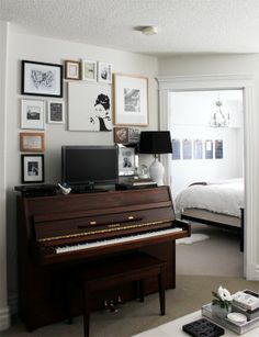 Piano as TV Stand - Great Use of Space!