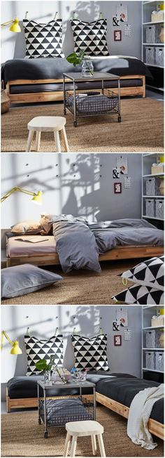 This stackable bed from IKEA is a brilliant solution for small dwellings - New house - Ikea Small Sofa, Sofa Bed For Small Spaces, Ikea Sofa Bed, Beds For Small Spaces, Sofa Furniture, Small Rooms, Furniture Design, Furniture Ideas, Furniture Stores