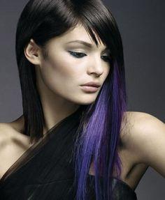 black hair with purple highlights #hair