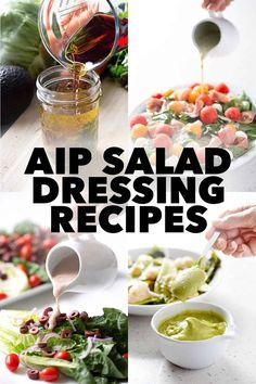 No need to ever eat a boring salad again. I've got tons of delicious AIP Salad Dressing recipes that will make your salads interesting. Italian Dressing Recipes, Homemade Italian Dressing, Paleo Sauces, Paleo Recipes, Health Recipes, Free Recipes, Paleo Salad Dressing, Lemon Salad Dressings, Clean Eating Salads