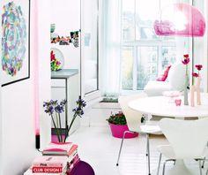 White floors! Pink Kartell lamp!