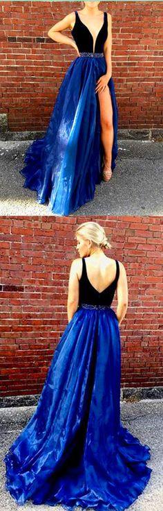 V-Neck Royal Blue Elegant 2018 Prom Dresses,Prom Dresses,Formal Women Dress,prom dress,Prom dress #Cocopromdress #promdress #promdresses #promdress #prom #dress #ballgown