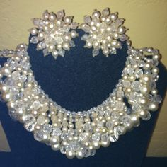 Gorgeous Coppola e Toppo Unique Beaded Necklace And Earring Set 50's!!!