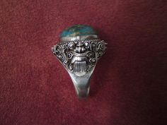 Old Bali Indonesian silver blue fossil coral ring Devil Rangda relief pattern