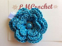 Crochet Flower with Clip - 3 Layer Teal Flower with Jewel Brad Center by LMCrochet on Zibbet