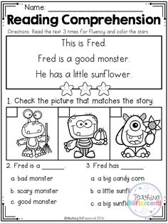 Inside you will find 5 FREE Halloween Kindergarten Reading comprehension Passages. These reading comprehension packets include the following activities: -Read 3 times for fluency -Short answer questions -Fill in the blank questions -Multiple choices -Match the story with the pictures