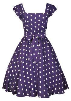 50s Retro Damson rockabilly puntíkaté šaty - vampire, gothic, emo, lolita, burlesque, retro, pin-up, shop