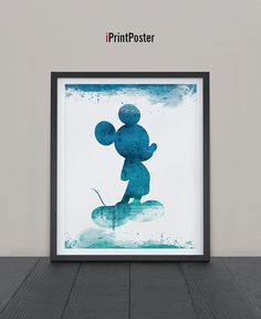 Mickey watercolor Print Watercolor Disney poster by iPrintPoster