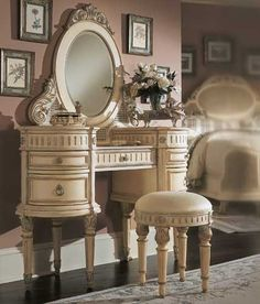 Lovely Antique Or Vintage Style Joliette Furniture Collection Dressing Table With  Stool And Mirror In French
