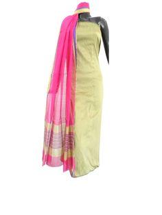 Blended Raw Silk Kurta & Handloom Maheshwari Dupatta Set- Beige&Pink