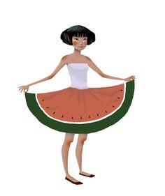 beautiful illustration, beautiful skirt!!