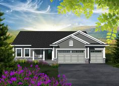 House Plan 96100   Ranch    Plan with 1501 Sq. Ft., 3 Bedrooms, 2 Bathrooms, 3 Car Garage