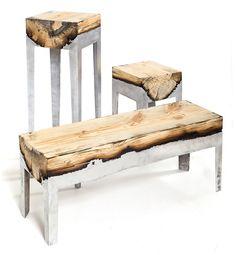 designer Hilla Shamia,  combining wood and cast aluminum