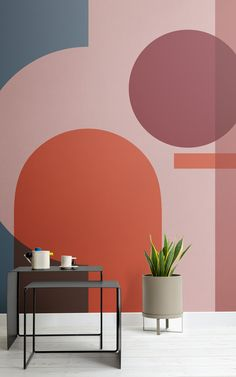 Featuring layered architectural shapes and shifting directions, these bauhaus inspired design murals use minimal lines to present a contrast of sharp angles and soft, curved shapes. The simplicity of the geometric shapes and colours in the wallpapers come Wall Design, House Design, Shape Design, Geometric Shapes Design, Curve Design, Abstract Shapes, Geometric Art, Design Art, Pattern Design