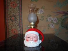 Santa Clause Oil Lamp Ceramic With A Glass by SETXTreasures