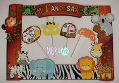 Marco de fotos para una fiesta llena de texturas y tiernos animalitos: Safari Safari Theme Birthday, Jungle Theme Parties, Jungle Party, Safari Party, Animal Birthday, Party Themes, Party Ideas, Baby Shower Themes, Baby Boy Shower