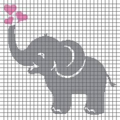 Baby Elephant Blowing Hearts – (Graph AND Row-by-Row Written Crochet Instructi. : Baby Elephant Blowing Hearts – (Graph AND Row-by-Row Written Crochet Instructions) – 03 Crochet Patterns Filet, Crochet Elephant Pattern, Graph Crochet, Granny Square Crochet Pattern, Baby Knitting Patterns, Crochet Baby, Crochet Squares, Crochet Granny, Elephant Cross Stitch