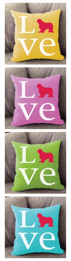 Cavalier King Charles LOVE pillow. Offered in multiple colors and 50+ dog breeds. Cover is machine washable and Made in USA.