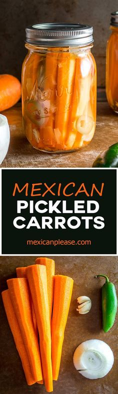 These Mexican Pickled Carrot Sticks want to be in your life!  Crispy, delicious, and full of zip from the jalapeno.  Super easy to make too!  mexicanplease.com
