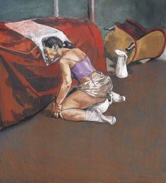 Dog Woman by Paula Rego, 1994, pastel painting on canvas. Description from pinterest.com. I searched for this on bing.com/images