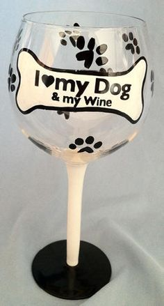 I Love My Dog. These hand-painted wine glasses feature a bone and paw print design. Each hand painted glass shows the brush strokes and slight imperfections . Diy Wine Glasses, Decorated Wine Glasses, Hand Painted Wine Glasses, Painted Wine Bottles, Painted Jars, Wine Glass Crafts, Wine Craft, Wine Bottle Crafts, Posca