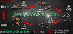 Morning Push-Ups Game Workout Routine Push Up Routine, Upper Body Workout Routine, Bodyweight Workout Routine, Hiit, Cardio, Fast Workouts, Killer Workouts, Fast Fat Burning Workout, Body Weight Training