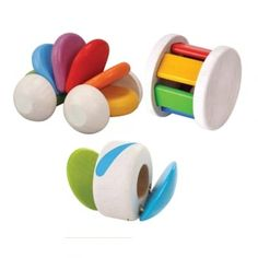 Pack of 3 wooden, colourful rolling toys, designed to help develop visual and fine motor skills.
