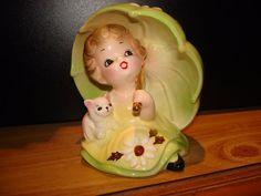 Josef Originals Girl Lime Green Ceramic Umbrella Kitty Cat