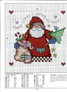 Cross-stitch Santa Claus is coming to town...   Schema punto croce Arriva-babbonatale