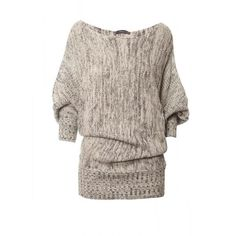 TRICOT 3/4 LONG JASPE LUREX 8132 (€52) ❤ liked on Polyvore featuring tops, sweaters, shirts, blusas, shirt sweater, lurex sweater, brown shirt, long brown sweater and lurex top