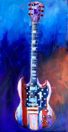 Fourth of July Special. This is a Gipson SG Angus Young painted up for the Fourth. I did this painting while on a deck up in the mountains of North Carolina.