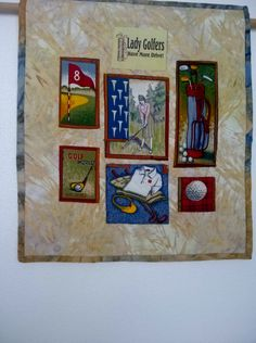 GOLF Wallhanging.TABLE CENTERPIECE, Table Home Decor, Quilted, Signed by QuiltingbyDiamanti on Etsy