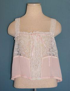Antique Victorian Vintage 1800's Pink Silk White Lace Camisole Lingerie - Sz M #Unbranded