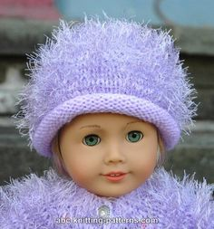 American Girl Doll Fur Hat - http://www.abc-knitting-patterns.com/1405.html