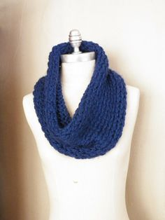 Blue Cowl Scarf Chunky Knit Loop Scarf Circle by jamiesierraknits, $25.00