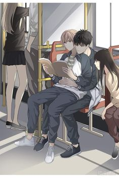 two young adult males reading on a train. One is sitting on the others lap and the other is reading over the first male's shoulder – homosexual – gay – male – people – love – cute – transportation – train – emotions Anime Boys, Cute Anime Boy, Anime Sexy, Fanarts Anime, Anime Characters, Familia Anime, Handsome Anime Guys, Manhwa Manga, Boy Art