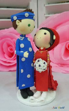 Wedding cake topper Vietnam Traditional wedding with beautiful red Ao Dai clay doll, clay figurine decoration, Bridal shower clay miniature on Etsy, $73.50