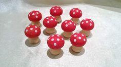 Fliegenpilze, Pilze aus Holz, 9 Stück