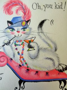 Vintage Birthday Card Kitschy Cat Martini Cat Mid by BettyAndDot