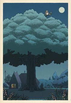 Studio Ghibli - Hayao Miyazaki - My Neighbor Totoro Art Studio Ghibli, Studio Ghibli Poster, Hayao Miyazaki, Japanese Prints, Japanese Art, Traditional Japanese, Studio Ghibli Characters, Arte Peculiar, Art Japonais