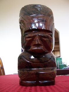 """Hand Carved Mahogany Aztec Statue -- Over 12 and 1/4"""" high by RobertsXclusiveGifts on Etsy"""