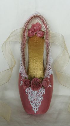 Sleeping Beauty Princess Aurora themed Pointe Shoe. Hey, I found this really awesome Etsy listing at https://www.etsy.com/listing/229433900/decorated-pointe-shoe-sleeping-beauty