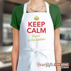 Oma Gift, Birthday Gift For Oma! Funny Apron, Keep Calm, Omas In The Kitchen, Cooking Gift, Awesome Oma, Personalized, Alternative Oma Shirt by RareGiftsForHome on Etsy https://www.etsy.com/listing/244297378/oma-gift-birthday-gift-for-oma-funny