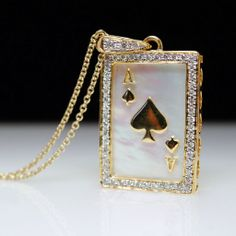 Mother of Pearl & Diamond Ace of Hearts Playing Card Pendant in 18k Yellow Gold from Jamie Kates Jewelry Collection at RubyLane.com