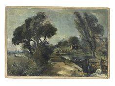 Bonhams : John Constable R.A. (East Bergholt 1776-1837 London) Flatford Lock on the Stour looking towards Bridge Cottage