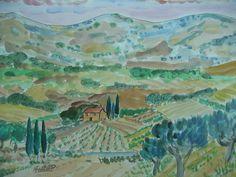 Toscana, watercolor  Marcel Serraillier   serraillier@aol.com